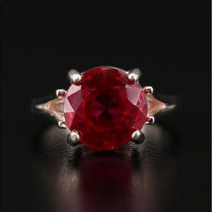 HUGE Vintage Ruby Ring Solitaire 6.5